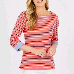 Nautica Coral Pink Striped 3/4 Sleeve Shirt Sz XL